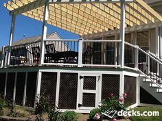 Deck Picture in A Robbinsville Pergola - Picture 1144 Deck With Pergola, Cheap Pergola, Covered Pergola, Pergola Patio, Pergola Plans, Backyard Decks, Pergola Cover, Pergola Canopy, Pergola Shade