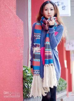 wool tassel knitted scarf designs for girls pics photos Winter Collection Winter Knitting Fashion  fashion