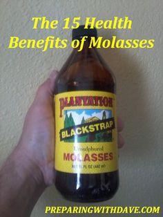 Health Benefits of Blackstrap Molasses.. Healthier then regular molasses. Digestive Problems Eczema Psoriasis Colon health Lower blood sugar Hair loss, Fatique Soothe stomach aches Irritable bowel Anemia, etc Rich in Iron, Vitamin B6, Calcium, Maganese, Magnesium, Potassium, Selenium.