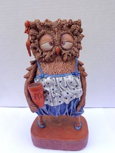 "Owl girl  h=8.5"" paper mache"