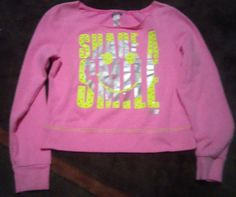 """Justice Pink """"Share A Smile"""" Pullover Girls Size 12 Justice Pink & Yellow Top #Justice"""