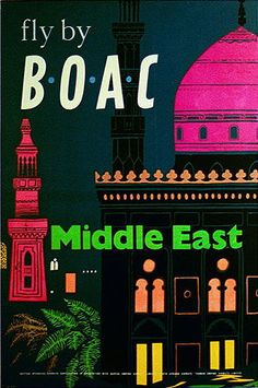 Middle East  Fly by BOAC, 1954 Vintage Travel Poster