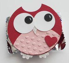 Cute Owl: Cherry Cobbler - 2 1/2 inch circle, small heart  Blusing Bride - 2 1/2 inch circle then cut about half of it with the 2 1/2 inch punch again to get the belly.  I then ran it through the Big Shot edge embossing folder  Whisper White - 1 inch circle  Basic Black - Itty Bitty Punch Pack  Silver Glimmer Paper - Pennant Punch (for the beak) and Boho Flower Punch (for the feet)