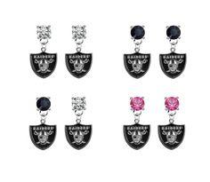 Oakland Raiders NFL Crystal Stud Rhinestone Earrings