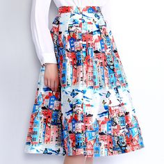 Special price LANLAN Brand High Waist Back Zipper Pleated Prints Skirt Spring Summer 2016 New Fashion Big hem  Beautiful Women Midi Skirts just only $17.59 with free shipping worldwide  #womanskirts Plese click on picture to see our special price for you