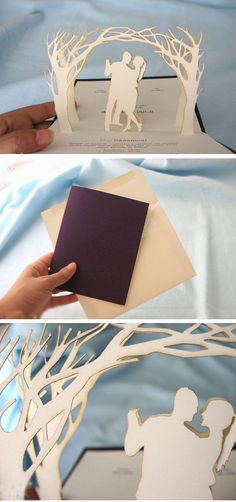3D Pop-up Forest diy wedding invitations / http://www.himisspuff.com/diy-wedding-invitations/22/