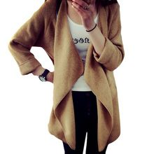 зимний вязаный кашемировый кардиган свитер пальто с длинным свободным рукавом тонкий асимметрия свитер полный рукав теплый с карманами бесплатная доставка(China (Mainland))
