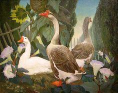Jessie Arms Botke Nest in the Jimson Weeds - still life . Art Canard, Art Et Nature, Duck Art, Art For Art Sake, 2d Art, Indian Paintings, Colorful Birds, Beautiful Birds, Painting Inspiration