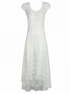 Shop White V-neck Lace Up Cap Sleeve Dipped Hem Sheer Lace Dress from choies.com .Free shipping Worldwide.$24.9