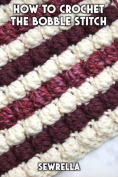 How to Crochet the Bobble Stitch - free video tutorial - The crochet bobble stitch is easier than you might think with my free video tutorial! This technique is beginner friendly and fun to add to any project. Crochet Puntada Bobble, Crochet Bobble, Afghan Crochet Patterns, Crochet Patterns For Beginners, Knitting For Beginners, Baby Blanket Crochet, Crochet Stitches, Knitting Patterns, Christmas Crochet Blanket