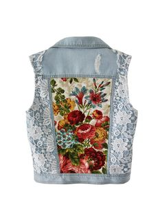 Light blue Denim vest embellished jacket white lace floral bouquet print beaded vest XS S M Anna da Gala women's jean vest blazer handmade - chryssafashion-ideas Denim And Lace, Artisanats Denim, Denim Vests, Blue Denim, Floral Denim, White Denim, Denim Waistcoat, Floral Blazer, Denim Jackets