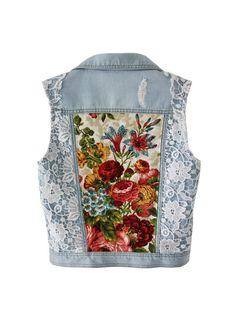 Light blue Denim vest embellished jacket white lace floral bouquet print beaded vest XS S M Anna da Gala women's jean vest blazer handmade - chryssafashion-ideas Denim And Lace, Blue Denim, Floral Denim, White Denim, Floral Blazer, Floral Jacket, Denim Vests, Denim Jackets, Outerwear Jackets