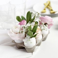 Crack open some eggs and whip up this simple floral centerpiece for Easter!