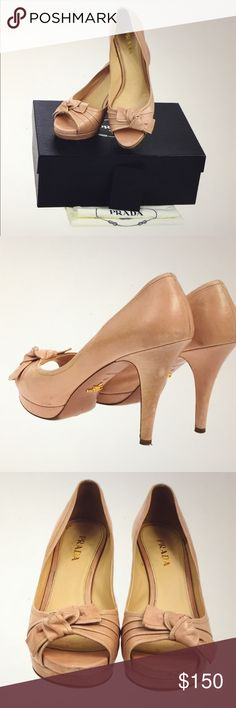 """🆕 Prada Milano Beautiful Bow Pumps Authentic Prada Pumps, Bow details, light pink genuine leather, preowned , regular sign of use, made in Italy , heels: 4.3"""" approx. comes with box and dust bag. Prada Shoes Heels"""