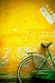David DuChemin Solid-Faced Canvas Print Wall Art Print entitled A Bike Leaning Against A Wall; Hanoi, Vietnam, None Big Canvas Art, Canvas Art Prints, Canvas Wall Art, Framed Prints, Yellow Wall Art, Poster Prints, Posters, Art Photography, Hanoi Vietnam