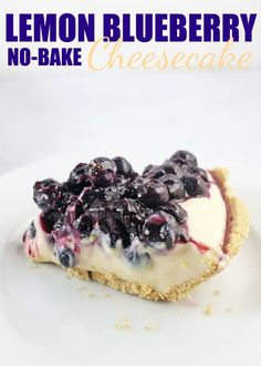 This creamy, delicious, easy Lemon Blueberry No-Bake Cheesecake (with fresh blueberries!) is seriously amazing. With a crunchy graham cracker crust, a sweet & tart lemony cream cheese filling and homemade blueberry pie filling on top... you will want to l