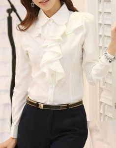 4816c40752994 Stylish Women sShirt Collar Long Sleeve Solid Color Ruffled Blouse