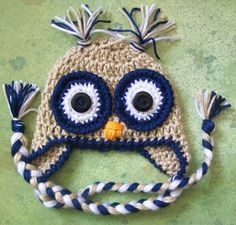 baby boy owl crochet hat