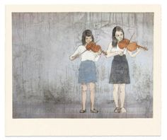 The Duet, 2010drypoint and aquatint on copper over woodcut, Ellen Heck