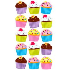 Sticko Bright Vellum and Glitter Cupcakes Stickers Food Stickers, Planner Stickers, Scrapbook Stickers, Decoration Creche, Decorations, Decoupage, Glitter Cupcakes, Birthday Charts, Diy And Crafts