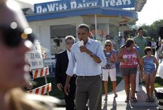 -Obama eats an ice cream (@DeWitt Dairy Treats in DeWitt, Iowa) --August 16, 2011