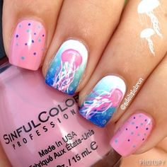 Tropical Pink Jellyfish Nails