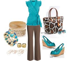 """""""Blue and Brown"""" by pamela-barrett-williamson ❤ liked on Polyvore"""