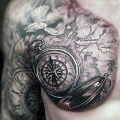Related image Compass And Map Tattoo, Compass Tattoo Meaning, Map Compass, Compass Tattoo Design, Map Tattoos, Neue Tattoos, Body Art Tattoos, Sleeve Tattoos, Tatoos