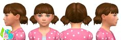 Low Double Buns - A conversion of my favorite little messy buns (adult version here). Comes in all EA children colors and I added the unnatural EA colors (dark blue, green, hot pink, purple,...