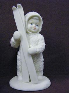 "Vintage Collectible Dept 56 Snowbabies Figurine ""Let's Go Skiing"""