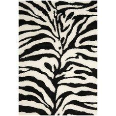 Amazon.com - Safavieh Florida Shag Collection SG452-1290 Ivory and Black Shag Area Rug, 4 feet by 6 feet (4' x 6') - Gray Area Rug