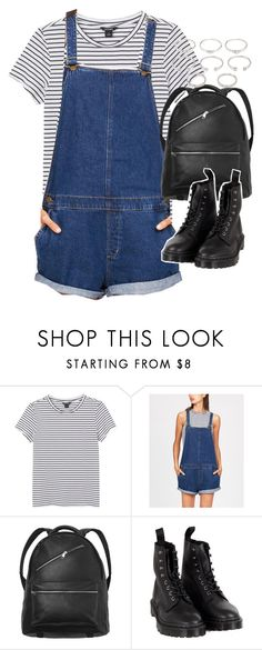 """""""Outfit with dungarees"""" by ferned ❤ liked on Polyvore featuring Monki, Dr. Martens and Forever 21"""