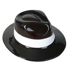 Black Plastic Gangster Hat
