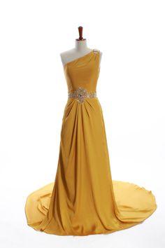 One Shoulder Floor Length Satin Chiffon Dress