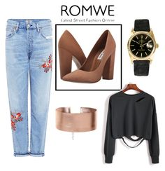 """""""romwe"""" by sana-clxxv ❤ liked on Polyvore featuring Steve Madden, Citizens of Humanity and Rolex"""