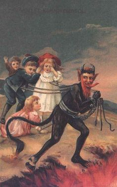Krampus having fun while dragging kids to the pits of hell... | 21 Vintage Postcards Of Krampus That Will Haunt Your Dreams
