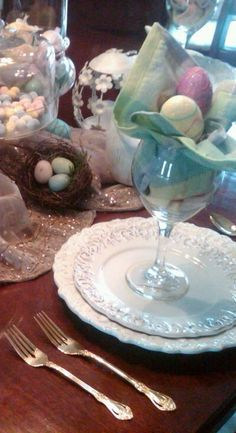 ~Eggs and colorful napkin in glass~eggs could also be foil wrapped chocolate.....could also use chocolate idea for other holidays; hearts, shamrocks, pumpkins, footballs, ornaments.....~