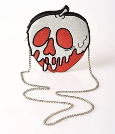 Danielle Nicole Red & Silver Glitter One Bite Poisoned Apple Leatherette Crossbody Purse - The Creepy Collection - Collections White Shoulder Bags, Chain Shoulder Bag, Crossbody Shoulder Bag, Shoulder Handbags, Purse Crossbody, Skull Purse, Coin Purse, Novelty Handbags, Silver Purses