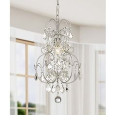 Dainty' Matte Silver and Crystal 1-light Chandelier | Overstock.com Shopping - The Best Deals on Chandeliers & Pendants