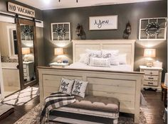 Farmhouse Bedrooms 5 Budget-Friendly Tips to Decorate Your Space with Farmhouse Style - Decor Steals Farmhouse Master Bedroom, Master Bedroom Makeover, Home Bedroom, Bedroom Decorating Ideas, Decor Ideas, Bedroom Ideas Master On A Budget, Farmhouse Bedroom Furniture, Decorating A New Home, Bedroom Makeovers