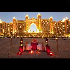 Romantic dinner in front of the Atlantis hotel in Dubai.... - Interior Design Ideas, Interior Decor and Designs, Home Design Inspiration, Room Design Ideas, Interior Decorating, Furniture And Accessories