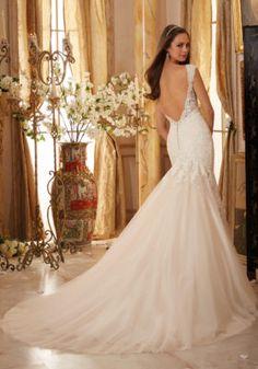 dbec7514a33dc Crystal Beaded, Alencon Lace Appliques on Soft Net Mori Lee Bridal Wedding  Dress | Morilee