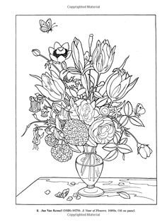 Color Your Own Great Flower Paintings Dover Art Coloring Book Marty Noble