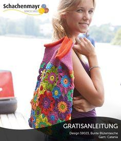 S9023 - Fröhlich bunte Blütentasche mit Blumenmotiv aus Schachenmayr Catania, #CataniaWolle gratisanleitungen