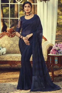 Online Shopping of Party Style Navy Blue Color Fancy Saree With Embroidered Blouse In Georgette Fabric from SareesBazaar, leading online ethnic clothing store offering latest collection of sarees, salwar suits, lehengas & kurtis Party Wear Dresses, Party Wear Sarees, Casual Dresses, Bridal Dresses, Trendy Sarees, Fancy Sarees, Georgette Fabric, Georgette Sarees, Bollywood Sarees Online