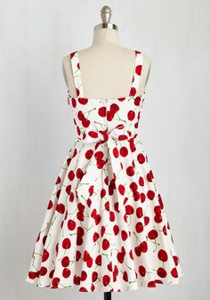Pull Up a Cherry Dress in White. Strutting so stylishly past the cafe, you overhear onlookers rave about that 'rockabilly diva's cheerful cherry dress!' As you turn your gaze to thank these friendly strangers, you recognize the duo - what a coincidence! #white #modcloth