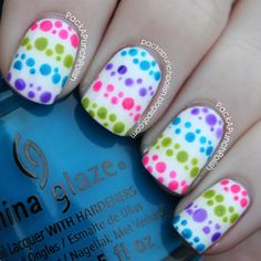 PackAPunchPolish: Polka Dotted Stripes Nail Art---Might do the opposite and do white polka dots!