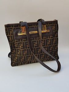 88359c0e7c39 FENDI Bag. Fendi Vintage Brown Zucca Shoulder Tote Bag . Italian designer  purse.
