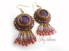 Carnivale Coin Earrings Beading Pattern by Cathy Helmers at Bead-Patterns.com