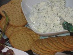 My favorite dip! It's so easy and delicious! I learned it from the chef at a hotel restaurant.  Take 8oz Cream Cheese, 3oz Parm Cheese + Ranch Seasoning to taste. Mix well, and serve with crackers or vegetables. Also tastes great on a burger!